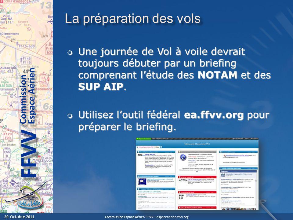 Commission Espace Aérien FFVV – espaceaerien.ffvv.org 30 Octobre 2011 30 Octobre 2011 Espace Aérien Commission FFVV La préparation des vols Une journée de Vol à voile devrait toujours débuter par un briefing comprenant létude des NOTAM et des SUP AIP.