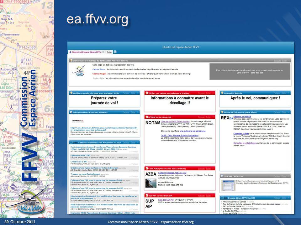 Commission Espace Aérien FFVV – espaceaerien.ffvv.org 30 Octobre 2011 30 Octobre 2011 Espace Aérien Commission FFVV Le Respect des Espaces Aériens Le Briefing devrait toujours comporter une information sur laltitude de certains FL (FL75, FL115, FL155, FL195) Le Briefing devrait toujours comporter une information sur laltitude de certains FL (FL75, FL115, FL155, FL195) Volez en dessous des altitudes maxi (prenez des marges) Volez en dessous des altitudes maxi (prenez des marges)