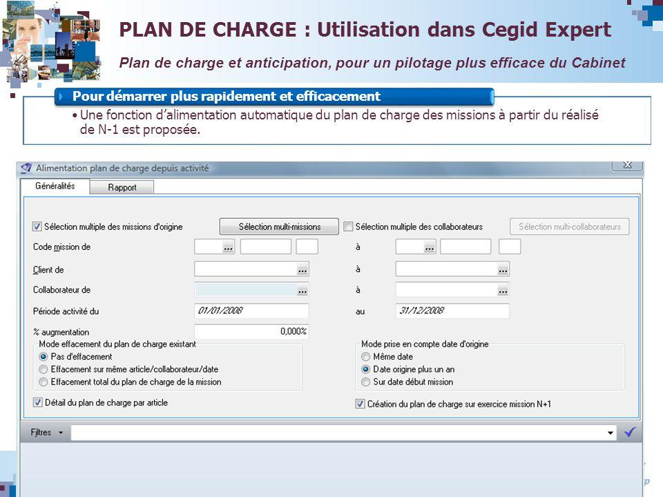 Avril 2008 Une fonction dalimentation automatique du plan de charge des missions à partir du réalisé de N-1 est proposée. Pour démarrer plus rapidemen
