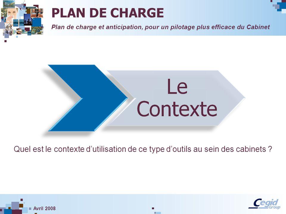 Avril 2008 Quel est le contexte dutilisation de ce type doutils au sein des cabinets ? Plan de charge et anticipation, pour un pilotage plus efficace