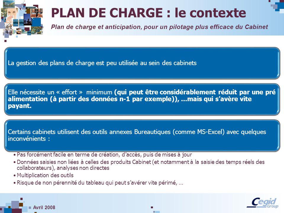 Avril 2008 La gestion des plans de charge est peu utilisée au sein des cabinets Elle nécessite un « effort » minimum (qui peut être considérablement r