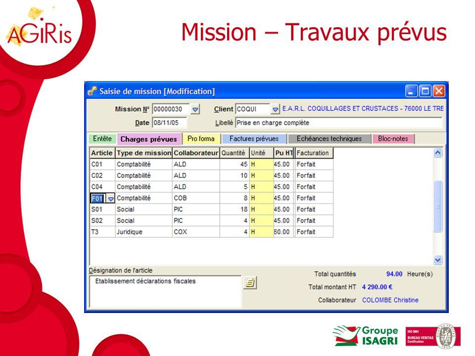 Mission - Echéances techniques Pour chaque échéance, la date butoir est calculée automatiquement