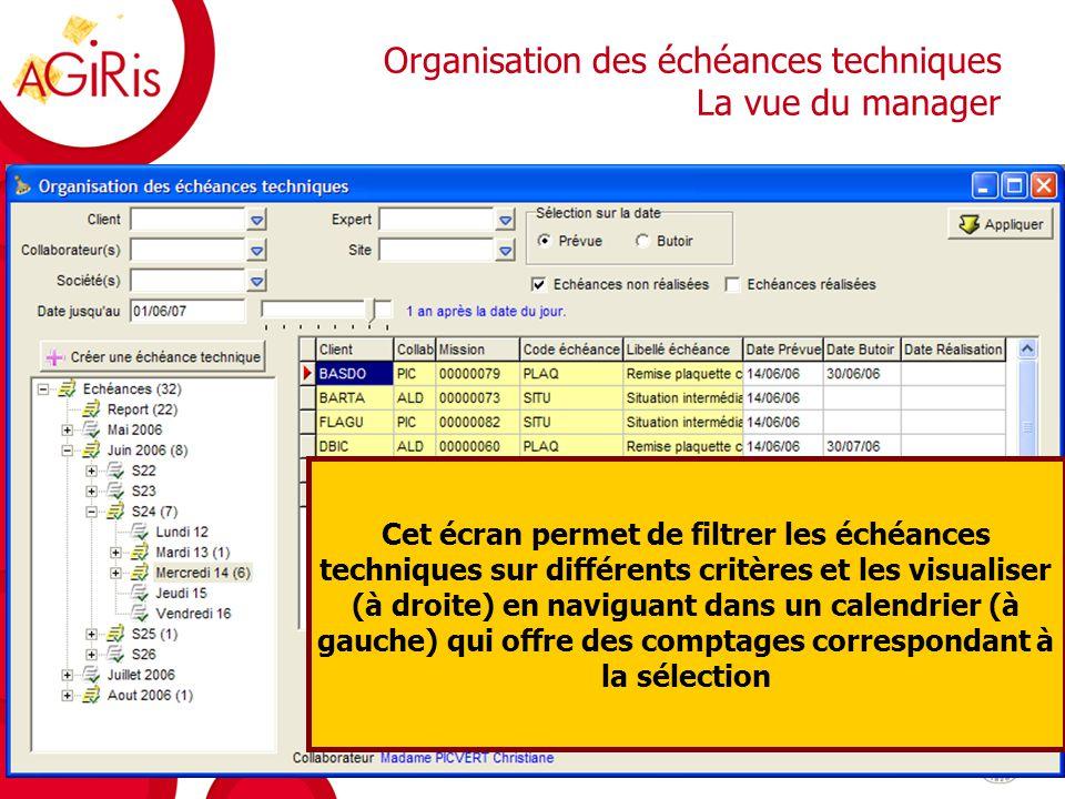 Organisation des échéances techniques Lutilisateur peut non seulement visualiser mais aussi modifier les dates prévues pour les replanifier, et aussi saisir ses réalisations