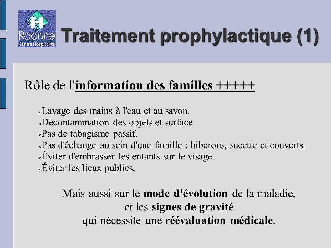 Traitement prophylactique (1) Rôle de l information des familles +++++ Lavage des mains à l eau et au savon.