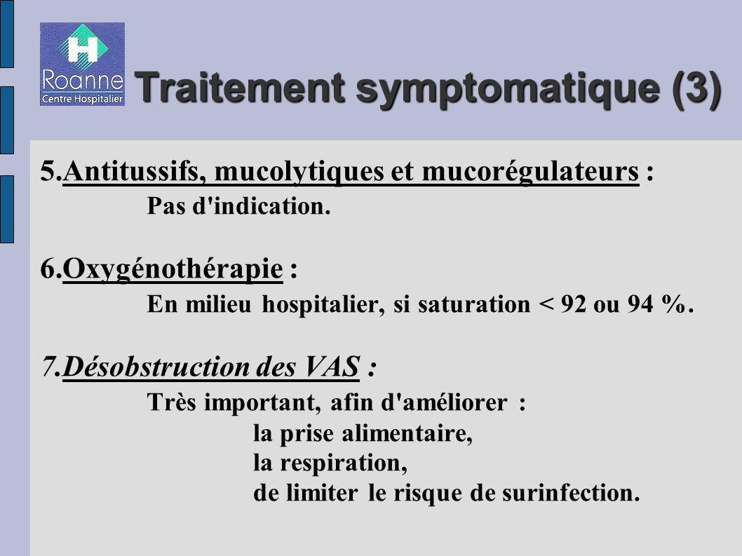 Traitement symptomatique (3) 5.Antitussifs, mucolytiques et mucorégulateurs : Pas d indication.
