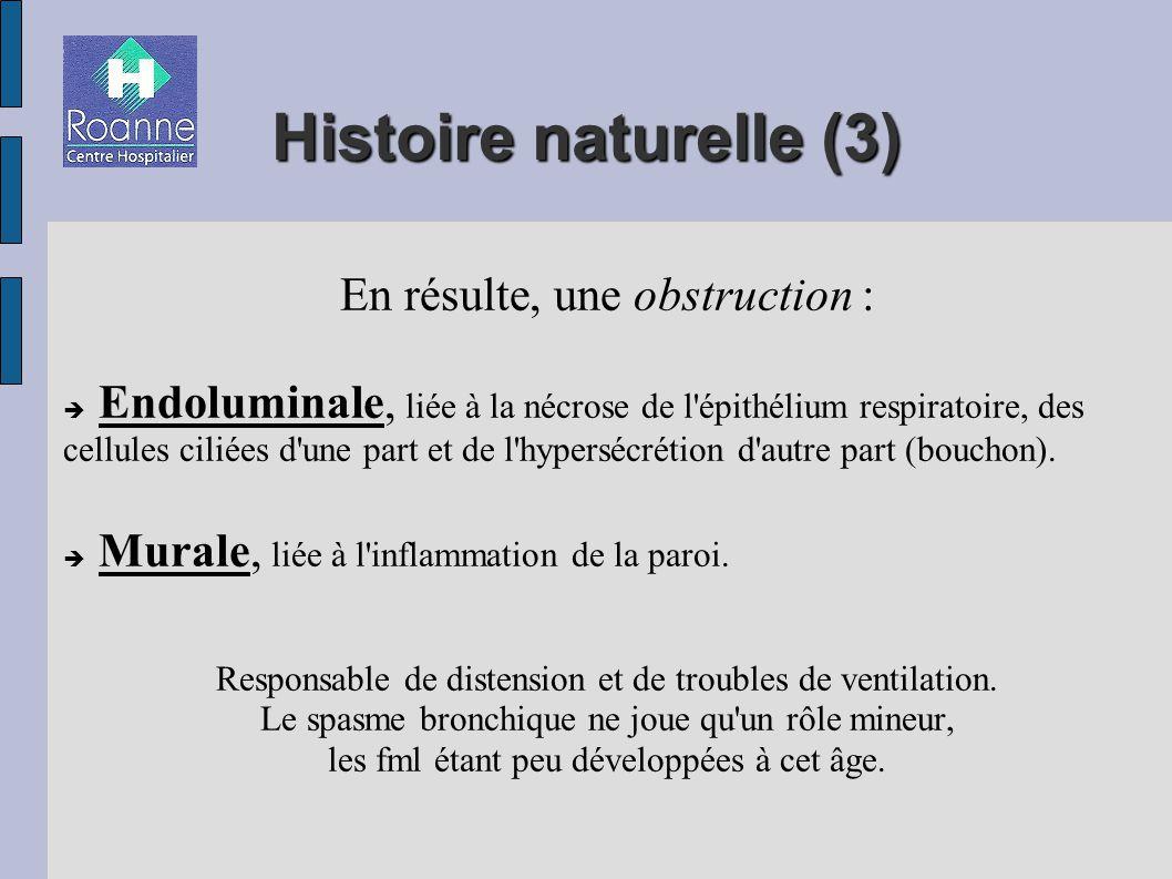Histoire naturelle (3) En résulte, une obstruction : Endoluminale, liée à la nécrose de l épithélium respiratoire, des cellules ciliées d une part et de l hypersécrétion d autre part (bouchon).