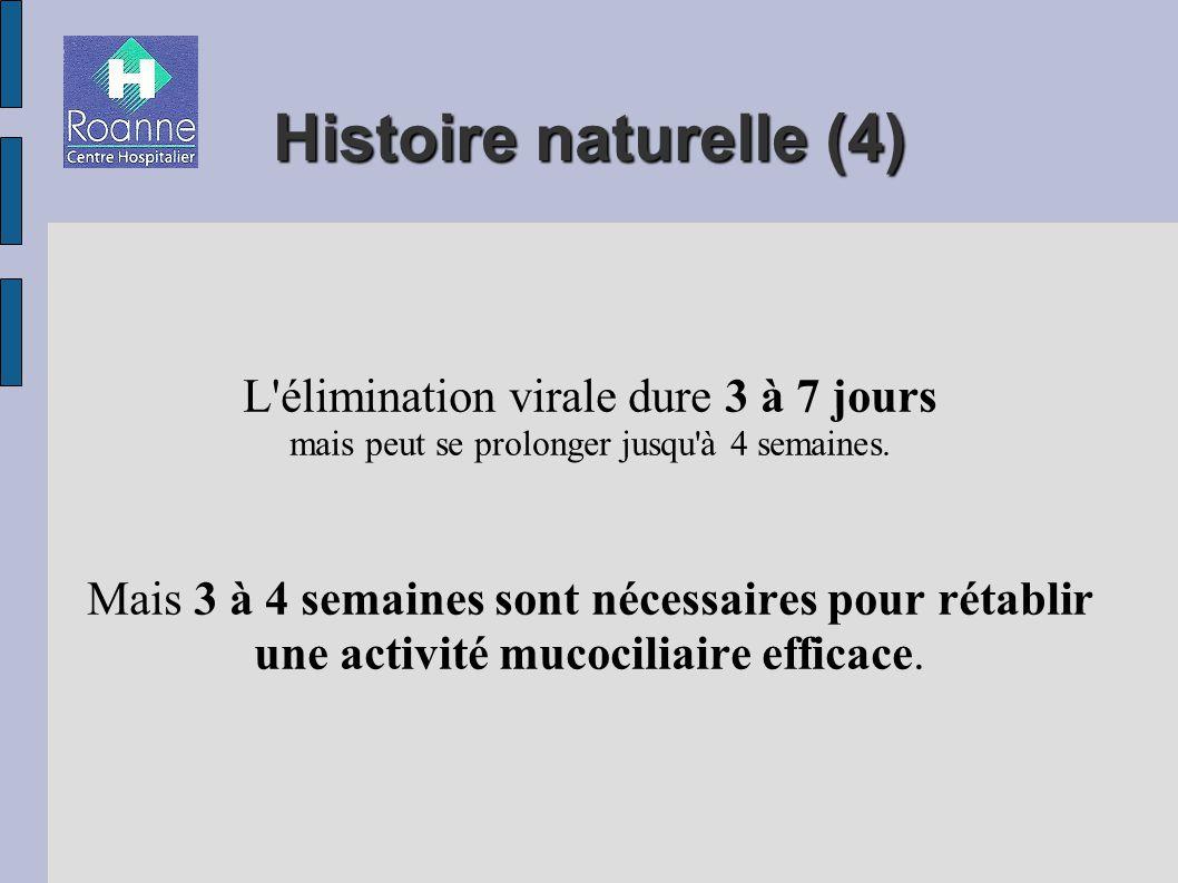 Histoire naturelle (4) L élimination virale dure 3 à 7 jours mais peut se prolonger jusqu à 4 semaines.