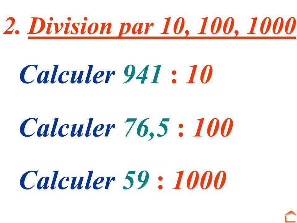 Cent. de mille Millième Centième Dixième Unité Dizaine Centaine Diz. de mille Unité de mille, Ecrire sous forme décimale 76,5 100 = 765 6 doit devenir