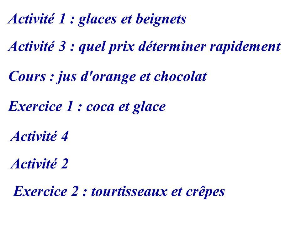 Cours : jus d orange et chocolat Exercice 1 : coca et glace Activité 1 : glaces et beignets Activité 2 Activité 3 : quel prix déterminer rapidement Activité 4 Exercice 2 : tourtisseaux et crêpes