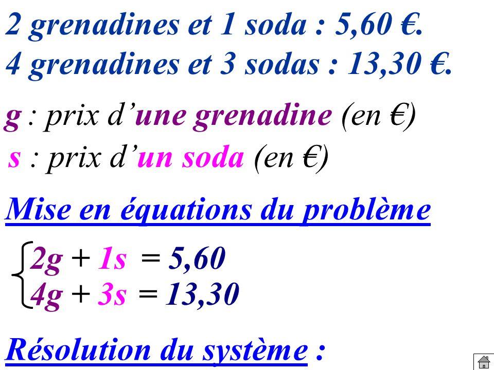 Mise en équations du problème 2g 4g+ 3s= 13,30 + 1s= 5,60 2 grenadines et 1 soda : 5,60.