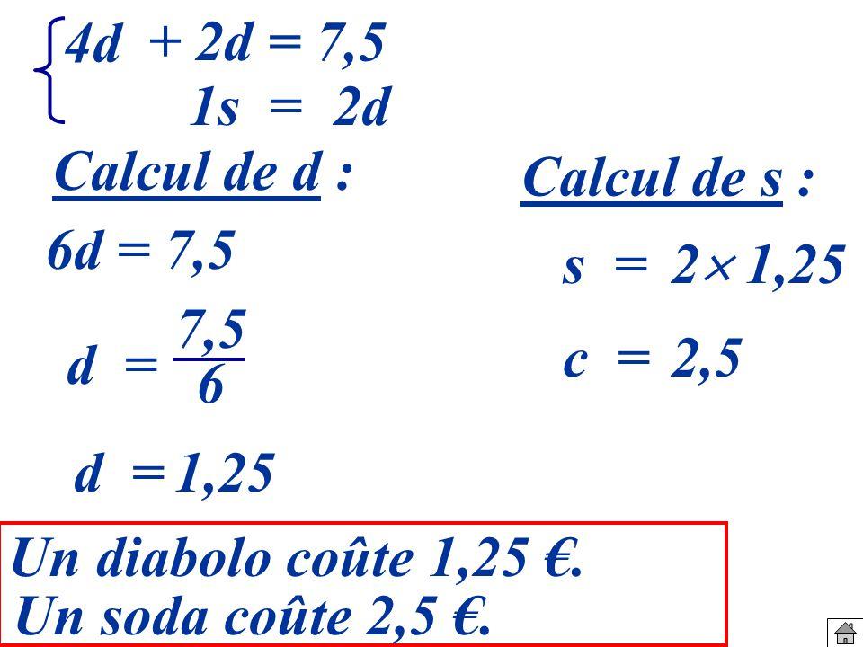 s = 2 1,25 d = 7,5 6 c =2,5 d =1,25 Un diabolo coûte 1,25.