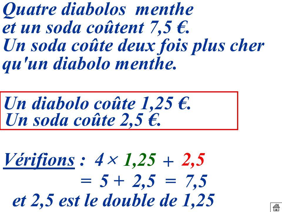 Vérifions : Quatre diabolos menthe et un soda coûtent 7,5.
