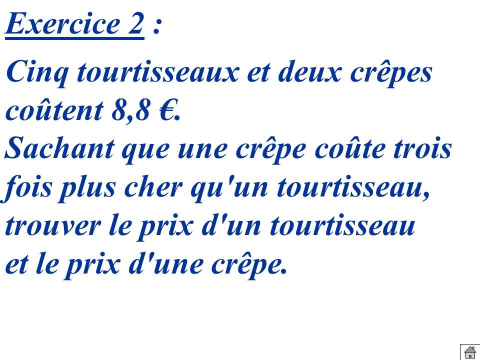 Cinq tourtisseaux et deux crêpes coûtent 8,8.