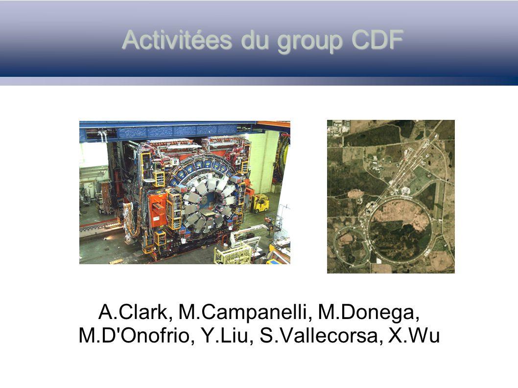 Conclusions (Noel 2003) CDF est en pleine activité pour profiter au maximun des données qui arrivent, et le groupe de Genève collabore en forces à l effort.