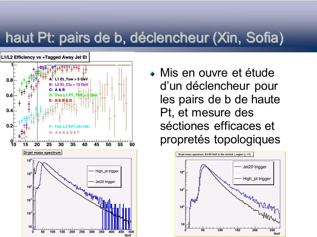 haut Pt: pairs de b, déclencheur (Xin, Sofia) Mis en ouvre et étude dun déclencheur pour les pairs de b de haute Pt, et mesure des séctiones efficaces et propretés topologiques
