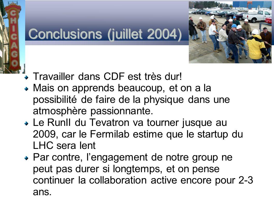 Conclusions (juillet 2004) Travailler dans CDF est très dur! Mais on apprends beaucoup, et on a la possibilité de faire de la physique dans une atmosp