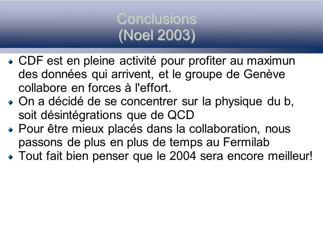 Conclusions (Noel 2003) CDF est en pleine activité pour profiter au maximun des données qui arrivent, et le groupe de Genève collabore en forces à l'e