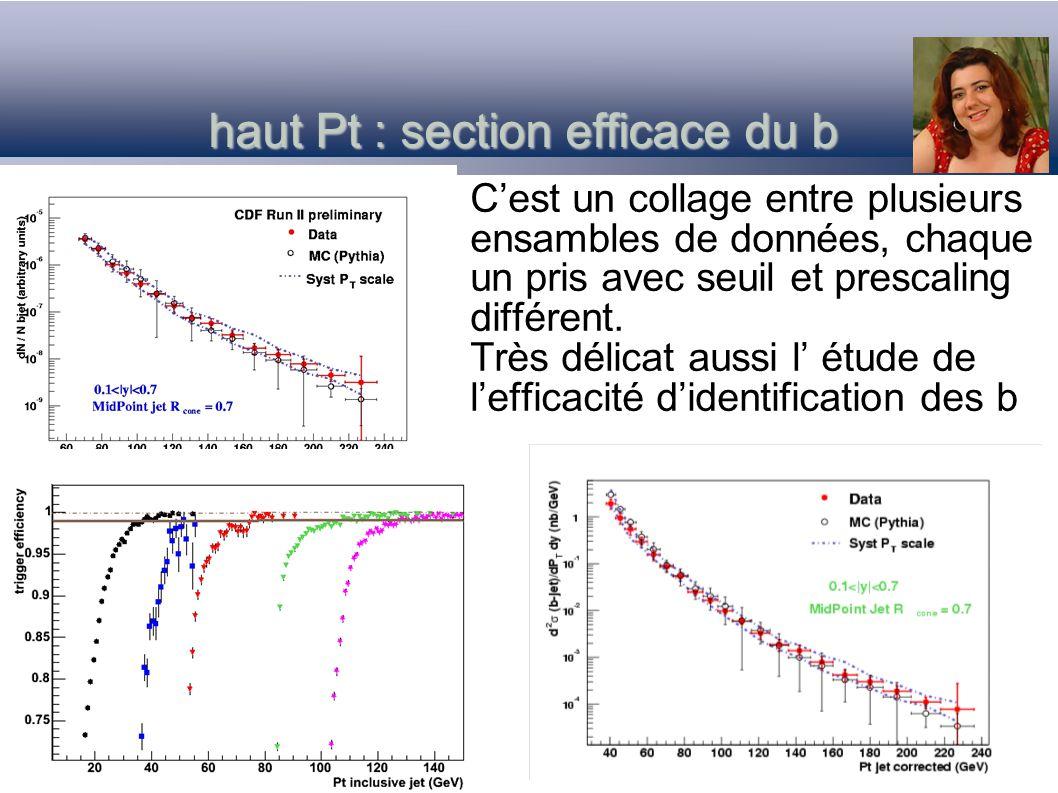 haut Pt : section efficace du b Cest un collage entre plusieurs ensambles de données, chaque un pris avec seuil et prescaling différent. Très délicat
