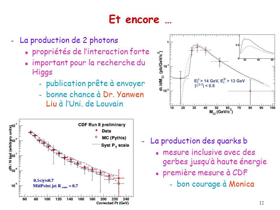 12 Et encore … – La production de 2 photons n propriétés de linteraction forte n important pour la recherche du Higgs – publication prête à envoyer – bonne chance à Dr.