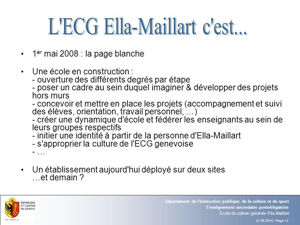 31.05.2014 - Page 12 Ecole de culture générale Ella-Maillart Enseignement secondaire postobligatoire Département de l'instruction publique, de la cult