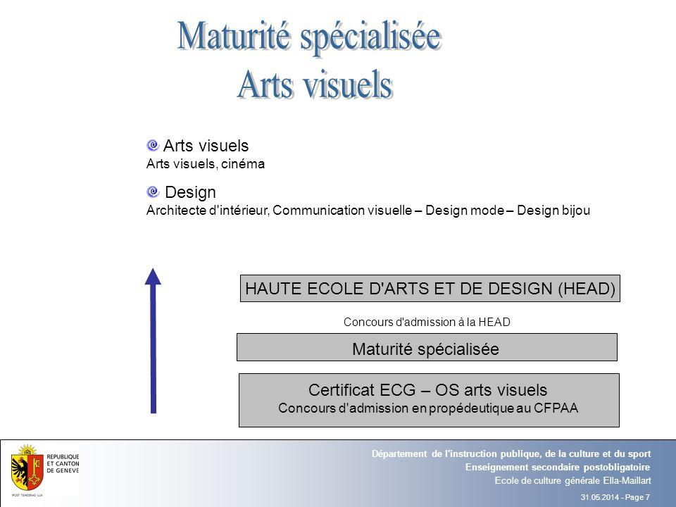 31.05.2014 - Page 7 Ecole de culture générale Ella-Maillart Enseignement secondaire postobligatoire Département de l'instruction publique, de la cultu