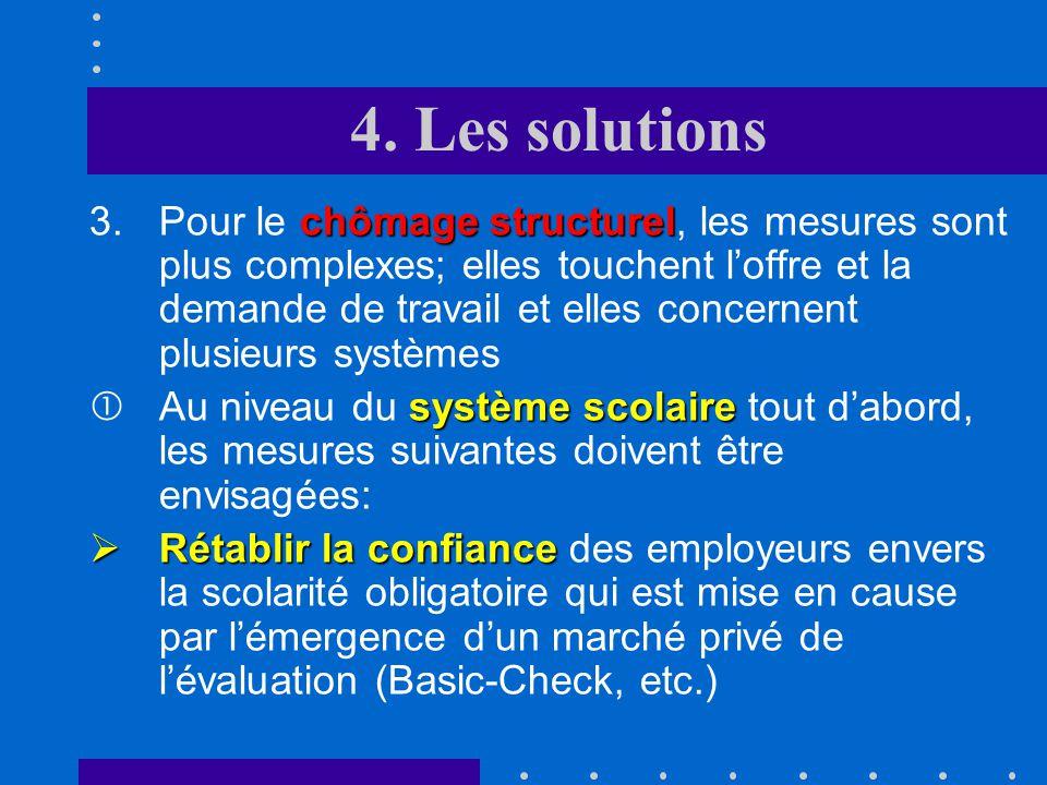 4. Les solutions chômage frictionnel 2.En ce qui concerne le chômage frictionnel, il convient de développer, dans le cadre des études, des stages prof