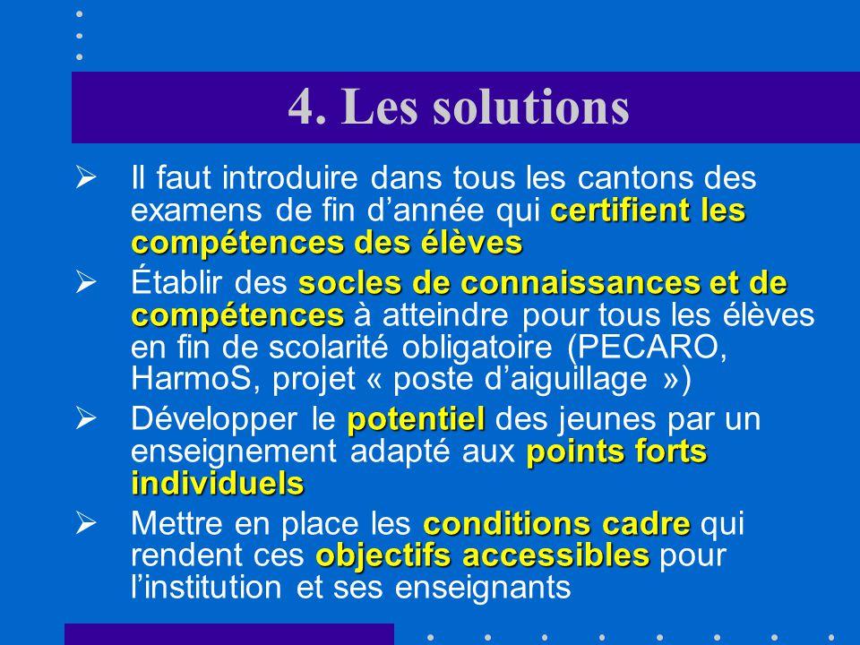 4. Les solutions chômage structurel 3.Pour le chômage structurel, les mesures sont plus complexes; elles touchent loffre et la demande de travail et e