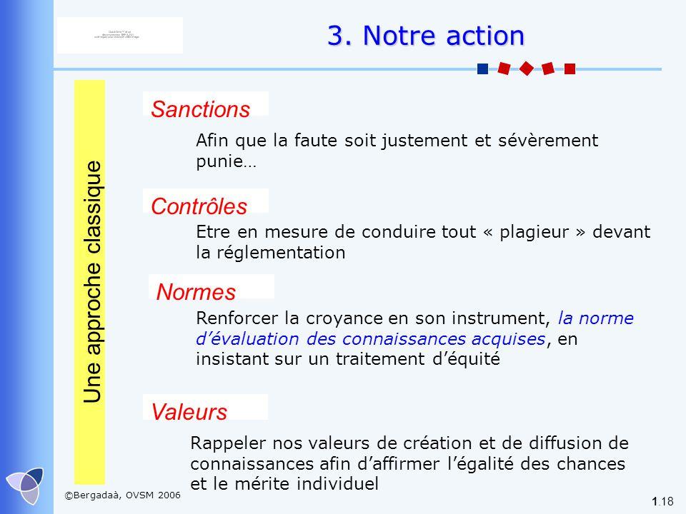 ©Bergadaà, OVSM 2006 1.18 3. Notre action Valeurs Une approche classique Normes Contrôles Renforcer la croyance en son instrument, la norme dévaluatio