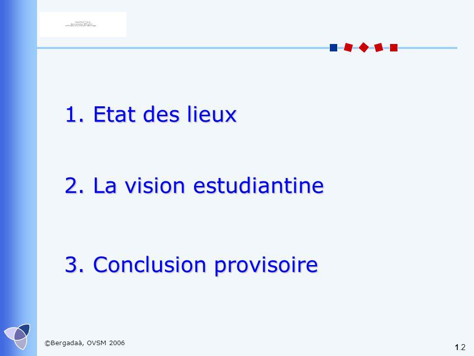 ©Bergadaà, OVSM 2006 1.2 1. Etat des lieux 2. La vision estudiantine 3. Conclusion provisoire