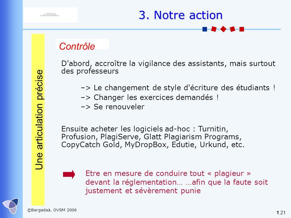 ©Bergadaà, OVSM 2006 1.21 Contrôle D'abord, accroître la vigilance des assistants, mais surtout des professeurs Ensuite acheter les logiciels ad-hoc :