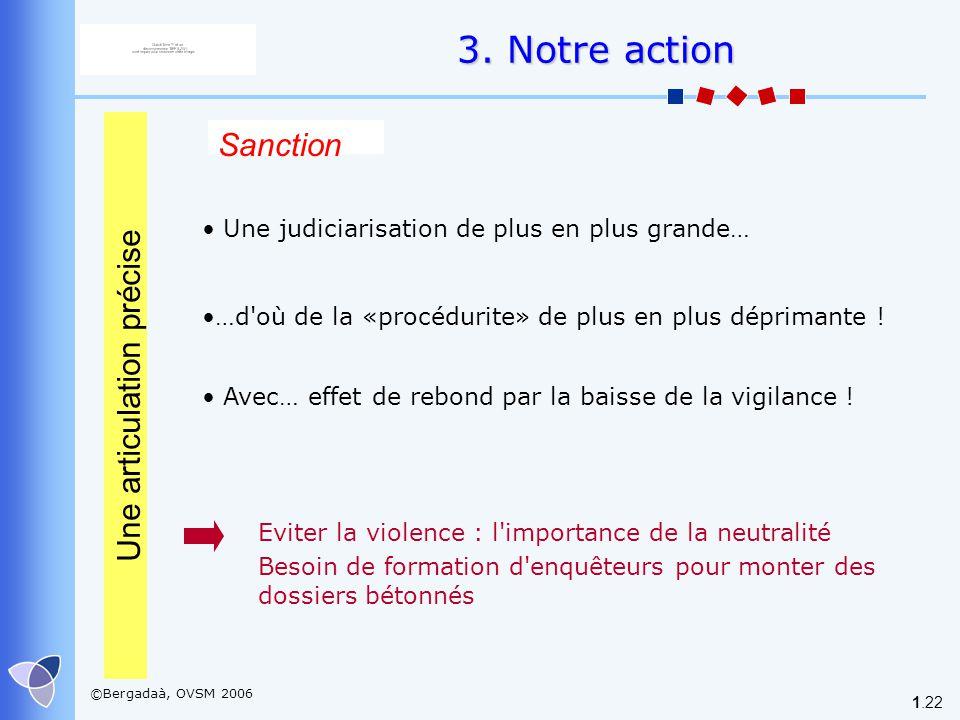 ©Bergadaà, OVSM 2006 1.22 Sanction Une judiciarisation de plus en plus grande… …d'où de la «procédurite» de plus en plus déprimante ! Avec… effet de r