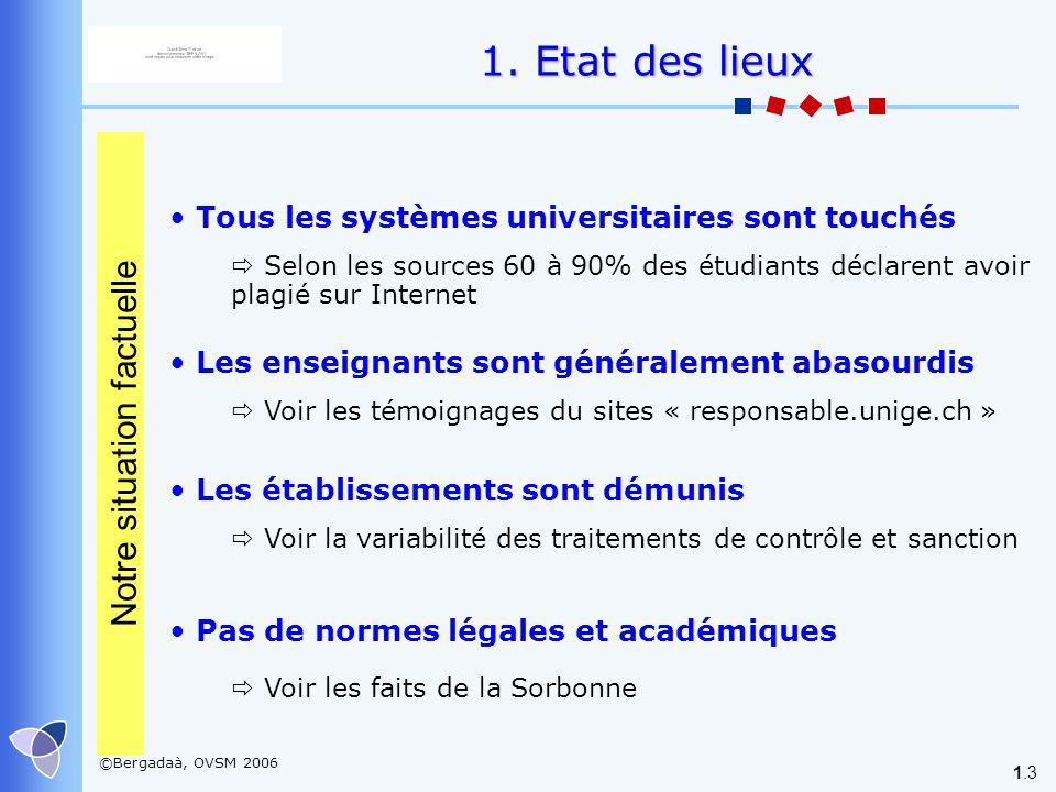 ©Bergadaà, OVSM 2006 1.3 Tous les systèmes universitaires sont touchés Selon les sources 60 à 90% des étudiants déclarent avoir plagié sur Internet Le