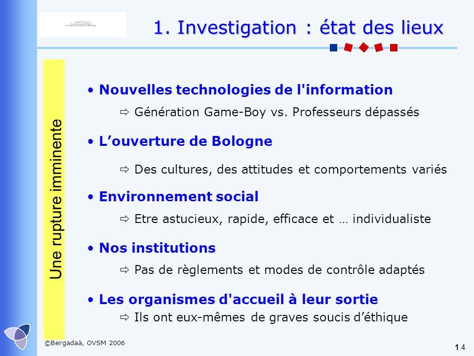 ©Bergadaà, OVSM 2006 1.4 Louverture de Bologne Des cultures, des attitudes et comportements variés Environnement social Etre astucieux, rapide, effica