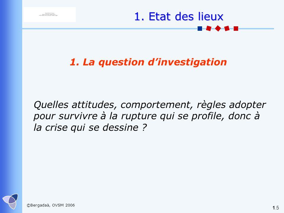 ©Bergadaà, OVSM 2006 1.5 1. La question dinvestigation 1. Etat des lieux Quelles attitudes, comportement, règles adopter pour survivre à la rupture qu