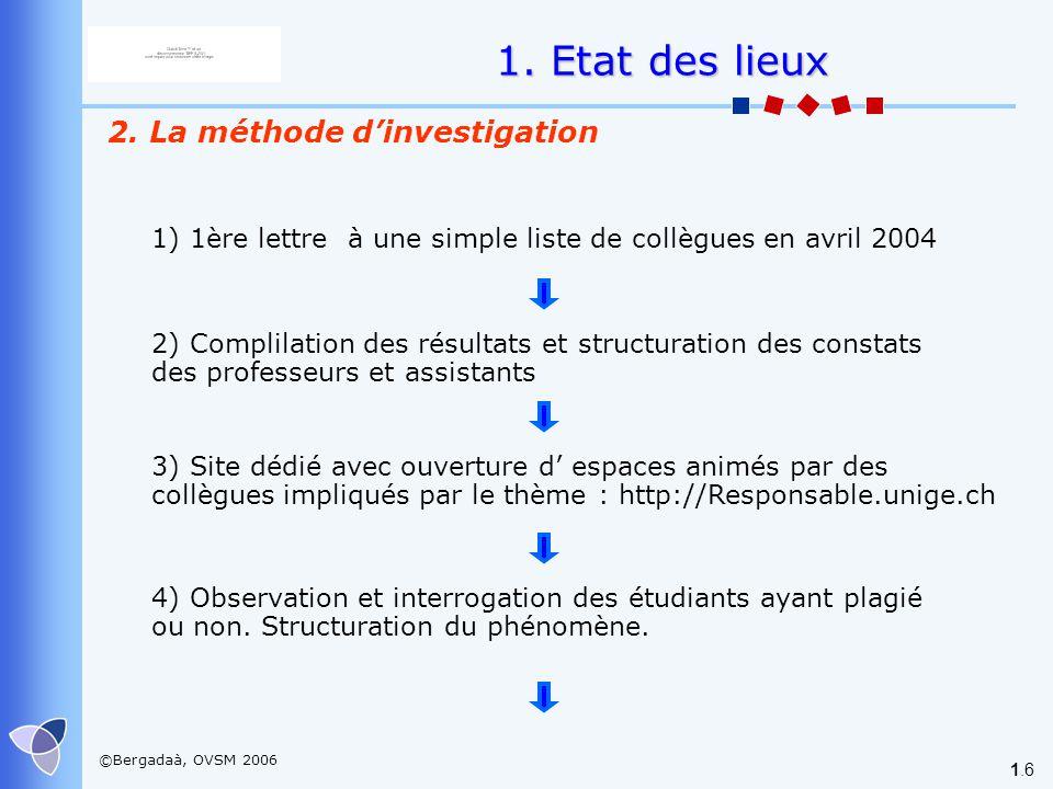 ©Bergadaà, OVSM 2006 1.6 2. La méthode dinvestigation 1) 1ère lettre à une simple liste de collègues en avril 2004 2) Complilation des résultats et st