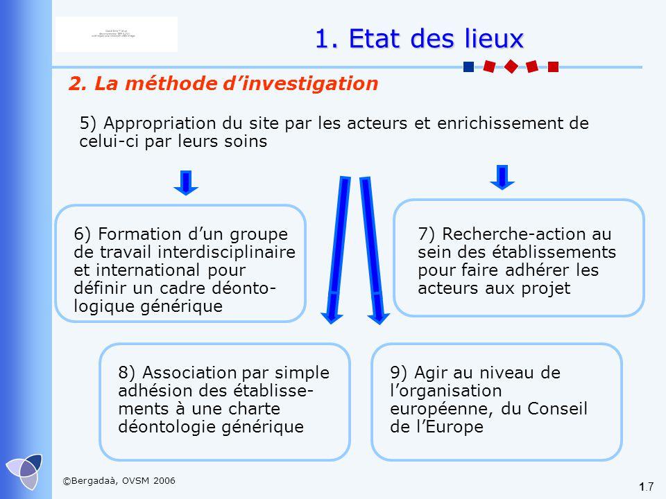 ©Bergadaà, OVSM 2006 1.7 2. La méthode dinvestigation 1. Etat des lieux 7) Recherche-action au sein des établissements pour faire adhérer les acteurs