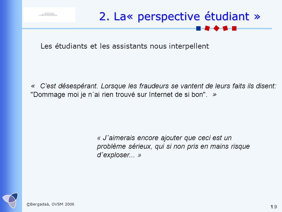 ©Bergadaà, OVSM 2006 1.9 2. La« perspective étudiant » Les étudiants et les assistants nous interpellent « Cest désespérant. Lorsque les fraudeurs se