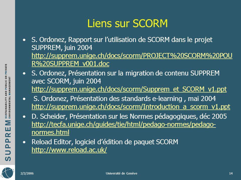 2/2/2006Université de Genève14 Liens sur SCORM S. Ordonez, Rapport sur lutilisation de SCORM dans le projet SUPPREM, juin 2004 http://supprem.unige.ch