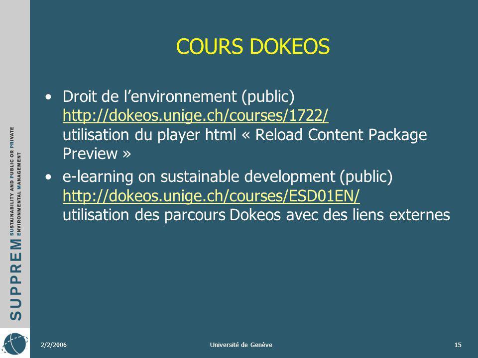 2/2/2006Université de Genève15 COURS DOKEOS Droit de lenvironnement (public) http://dokeos.unige.ch/courses/1722/ utilisation du player html « Reload