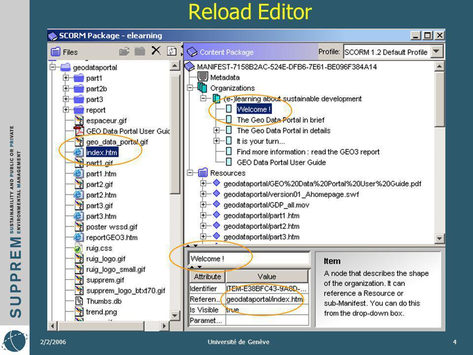 2/2/2006Université de Genève15 COURS DOKEOS Droit de lenvironnement (public) http://dokeos.unige.ch/courses/1722/ utilisation du player html « Reload Content Package Preview » http://dokeos.unige.ch/courses/1722/ e-learning on sustainable development (public) http://dokeos.unige.ch/courses/ESD01EN/ utilisation des parcours Dokeos avec des liens externes http://dokeos.unige.ch/courses/ESD01EN/
