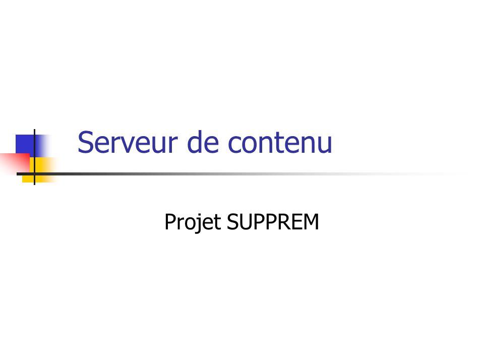 Serveur de contenu Le but du serveur Héberger le contenu des cours pour le projet SUPPREM Quel type de contenu.