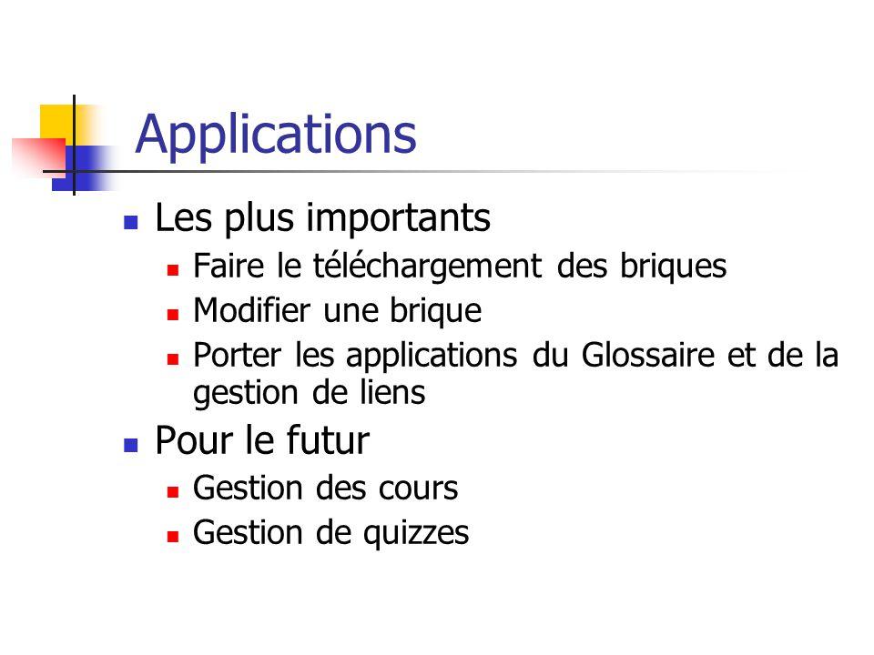 Applications Les plus importants Faire le téléchargement des briques Modifier une brique Porter les applications du Glossaire et de la gestion de lien