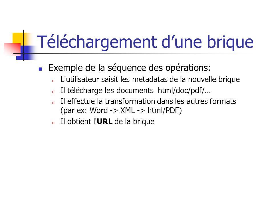 Téléchargement dune brique Exemple de la séquence des opérations: o L'utilisateur saisit les metadatas de la nouvelle brique o Il télécharge les docum