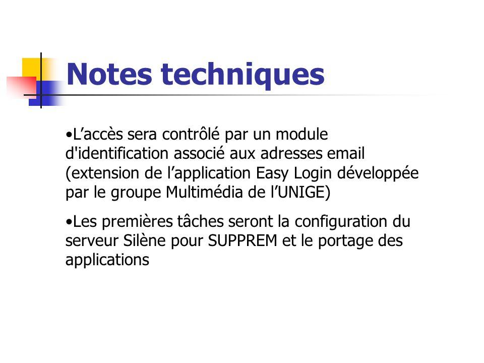 Notes techniques Laccès sera contrôlé par un module d'identification associé aux adresses email (extension de lapplication Easy Login développée par l