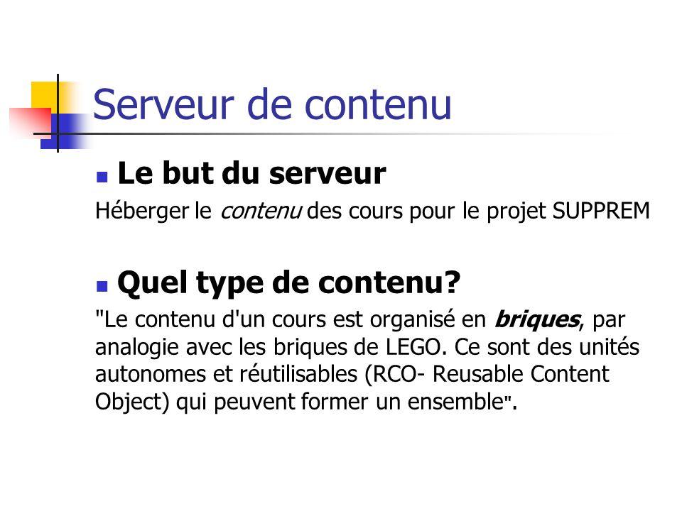 Serveur de contenu Composants d une brique Une brique peut contenir : Un ensemble de document en divers formats (html, pdf, word) Des applications en java, xls et autres Un document avec les meta-données de la brique
