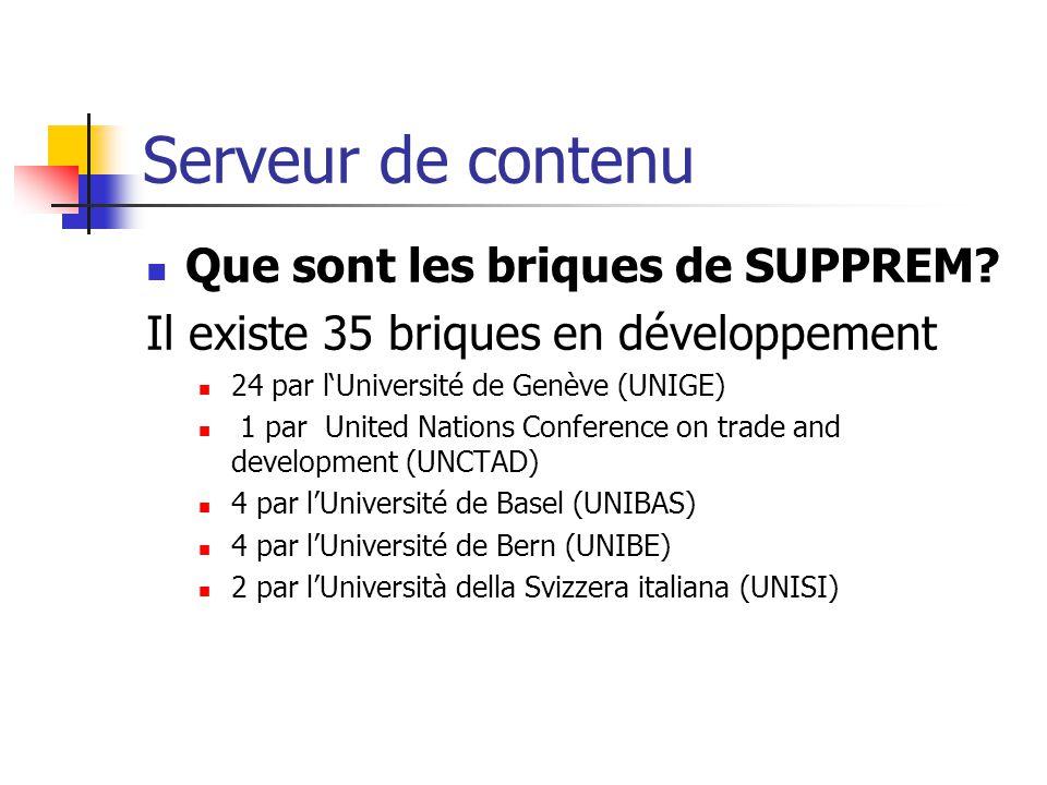 Serveur de contenu Que sont les briques de SUPPREM? Il existe 35 briques en développement 24 par lUniversité de Genève (UNIGE) 1 par United Nations Co