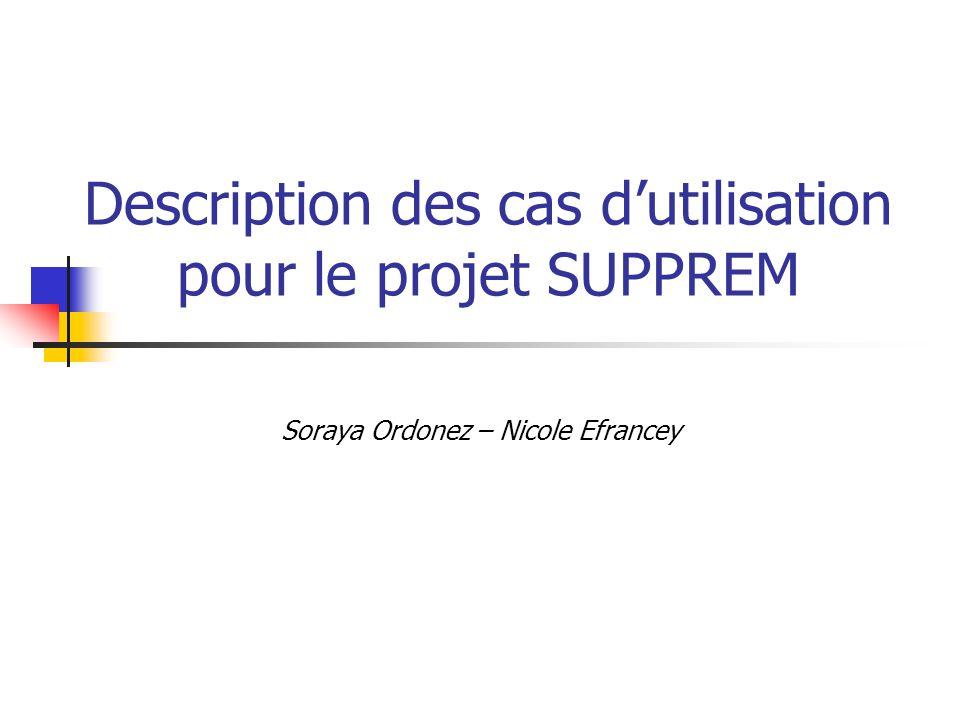 Description des cas dutilisation pour le projet SUPPREM Soraya Ordonez – Nicole Efrancey