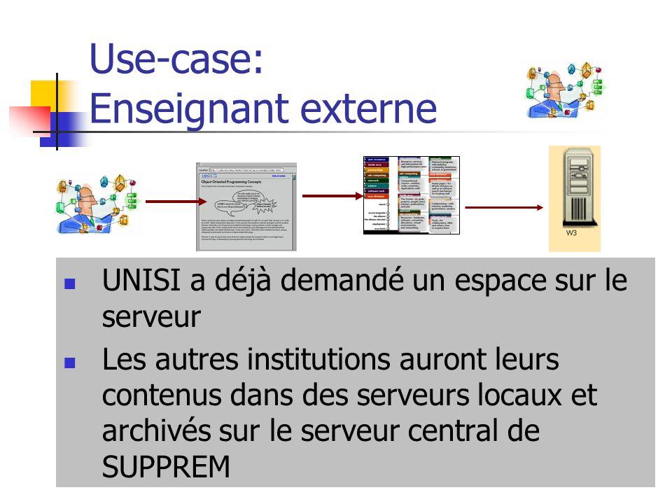 Use-case: Enseignant externe UNISI a déjà demandé un espace sur le serveur Les autres institutions auront leurs contenus dans des serveurs locaux et a
