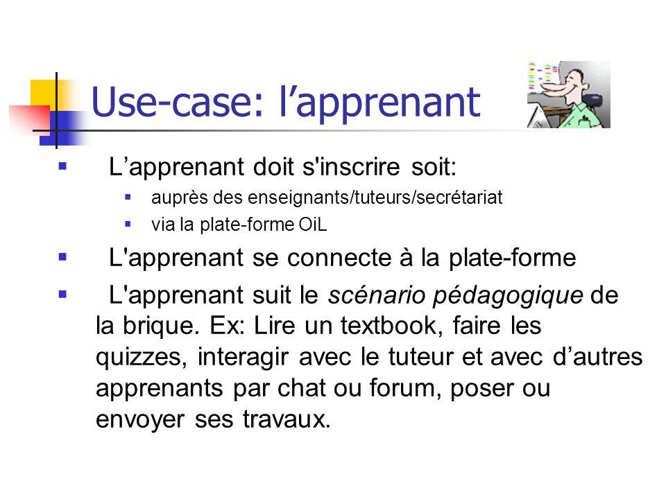 Use-case: lapprenant Lapprenant doit s'inscrire soit: auprès des enseignants/tuteurs/secrétariat via la plate-forme OiL L'apprenant se connecte à la p