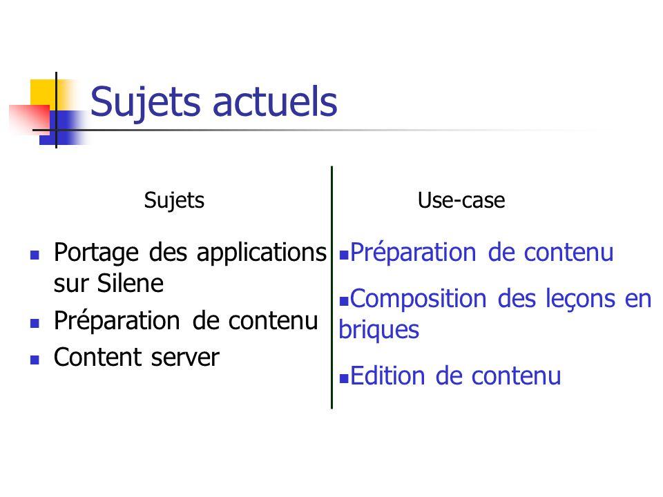 Sujets actuels Portage des applications sur Silene Préparation de contenu Content server Préparation de contenu Composition des leçons en briques Edit